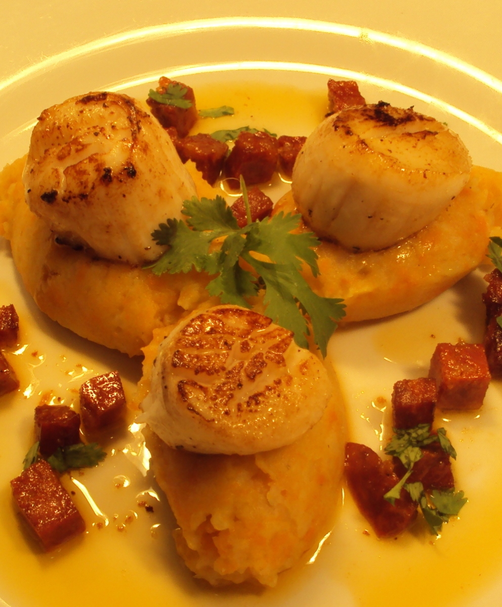 Sauté Scallops, Sweet Potato and Coriander Purée with braised Chorizo